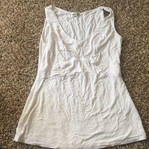 BODEN 6 White Knit Tank Top Sleeveless V Neck